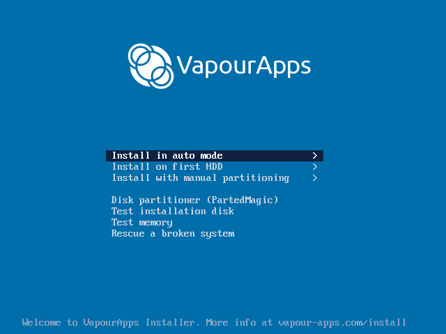 VaporApps welcome screen image